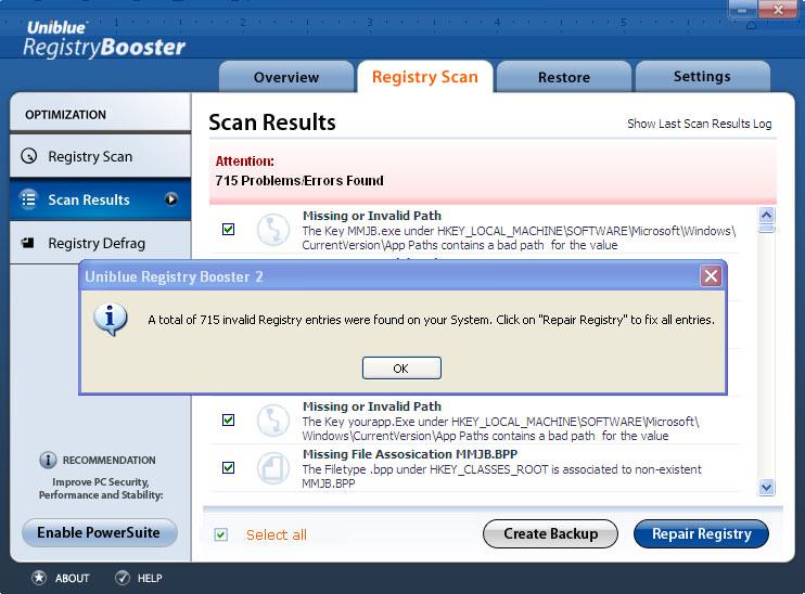 invalid registry screen
